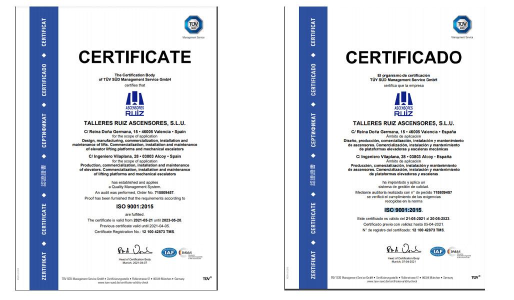 certificado ISO 9001-2015